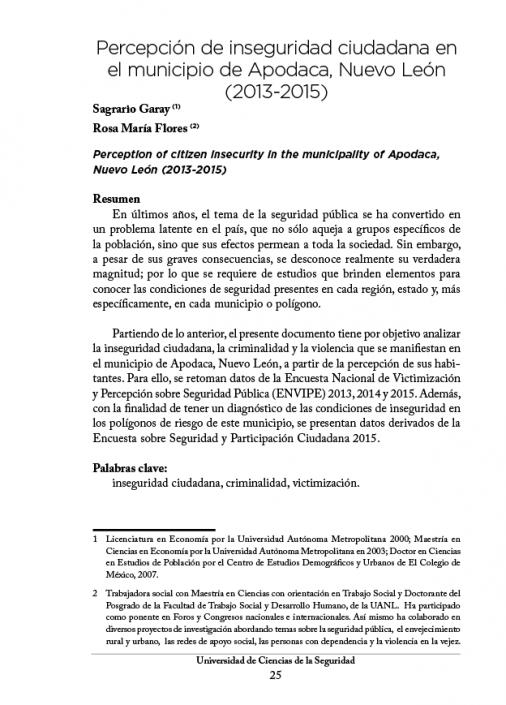 Percepción de inseguridad ciudadana en el municipio de Apodaca, Nuevo León